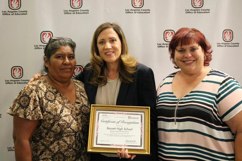 Los Angeles County Superintendent of Schools Debra Duardo (middle) met with Bassett High School Assistant Principal Arin McDonald (right) and Bassett High parent Elsy Gordillo (left) during the Community Schools Initiative kick-off event on Sept. 4.