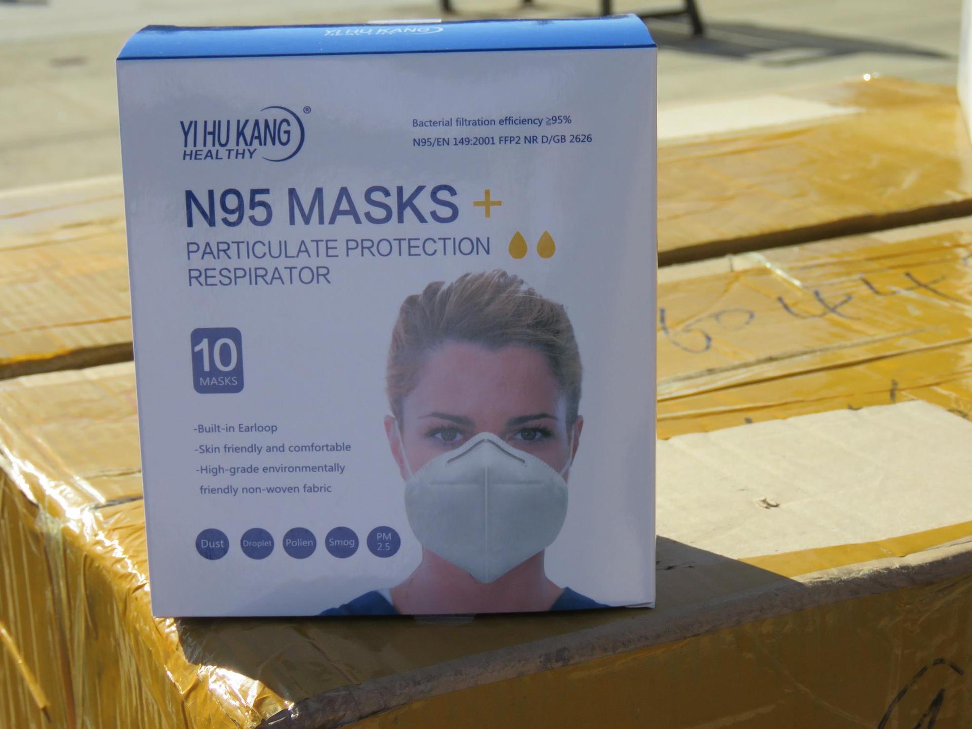 A close-up of a box of reusable n95 masks