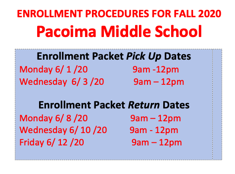Enrollment Procedures Fall 2020! Featured Photo