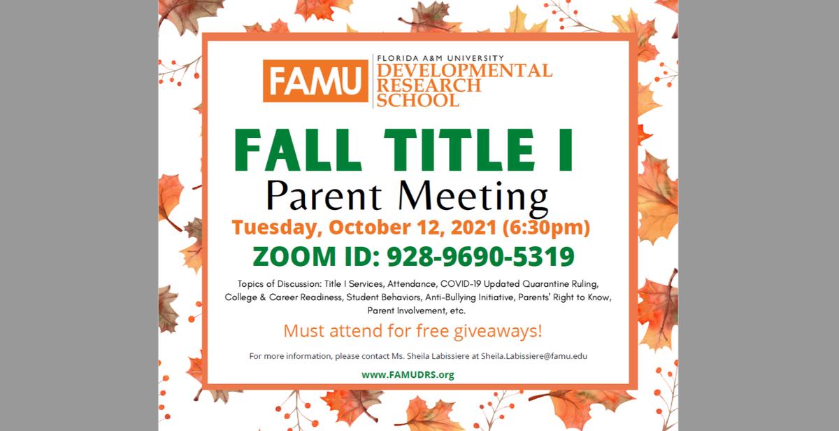 Fall 2021 Title 1 Parent Meeting