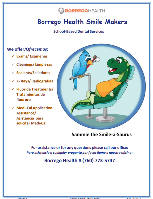 Borrego Health  Dental Appointment Flyer