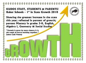 Graphic flyer highlighting the growth achievement of our students for 2018