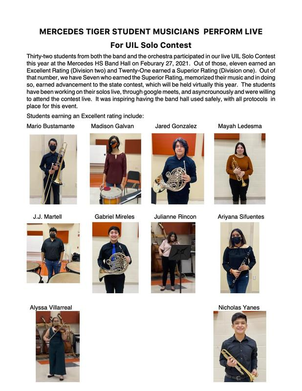 MERCEDES TIGER STUDENT MUSICIANS PERFORM LIVE For UIL Solo Contest Featured Photo