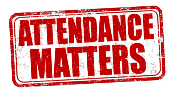 red and white sign that reads attendance matters