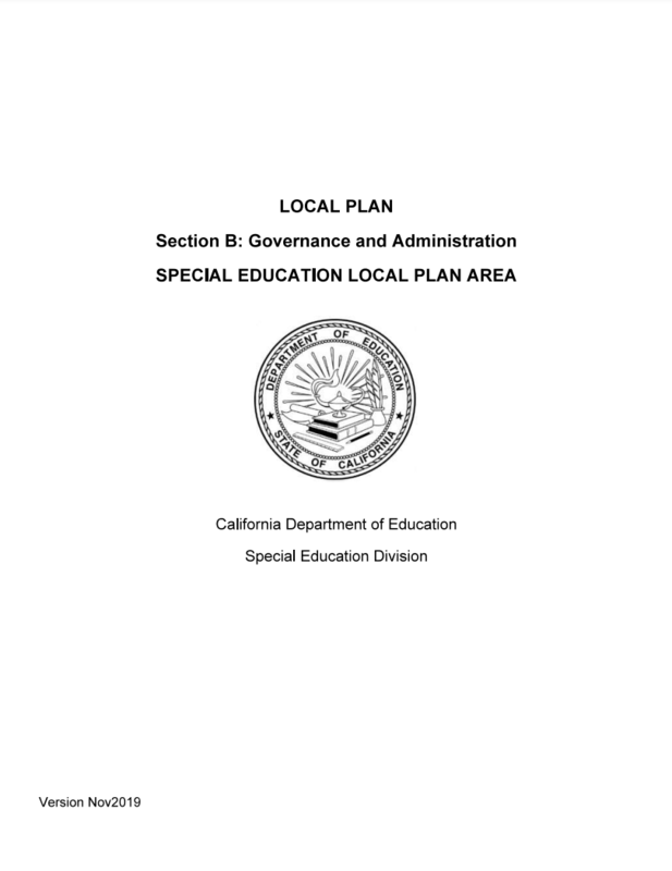 Special Education Local Plan