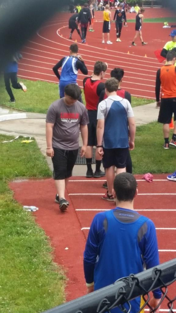 special Olympian competing