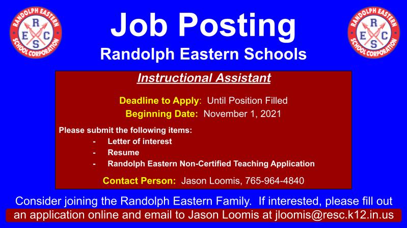 Job Opening at Randolph Eastern