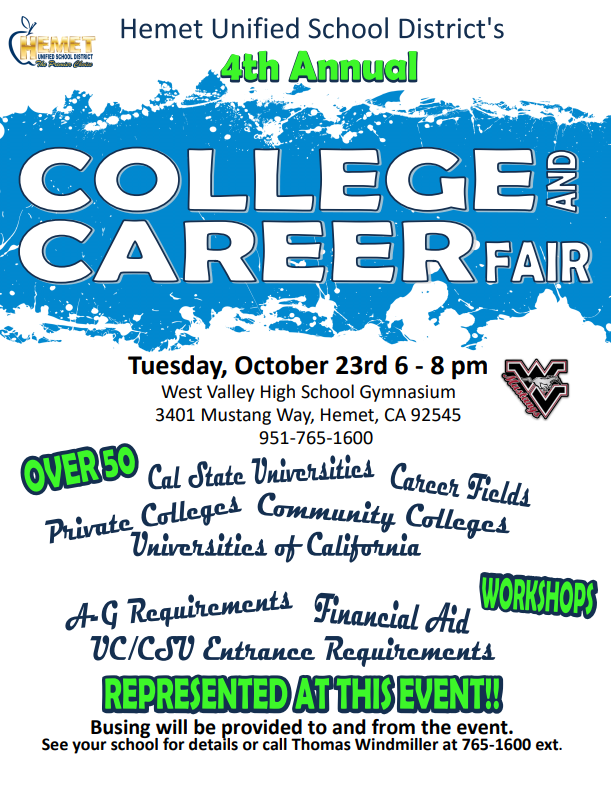 Flyer for the 4th Annual College and Career Fair at West Valley on October 23rd from 6-8 p.m.
