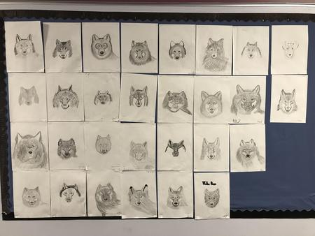 Student wolf art