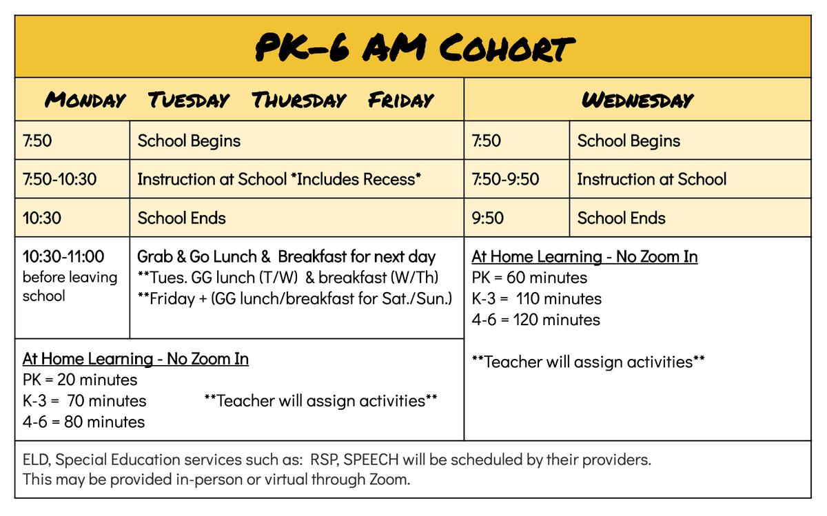 AM schedule.