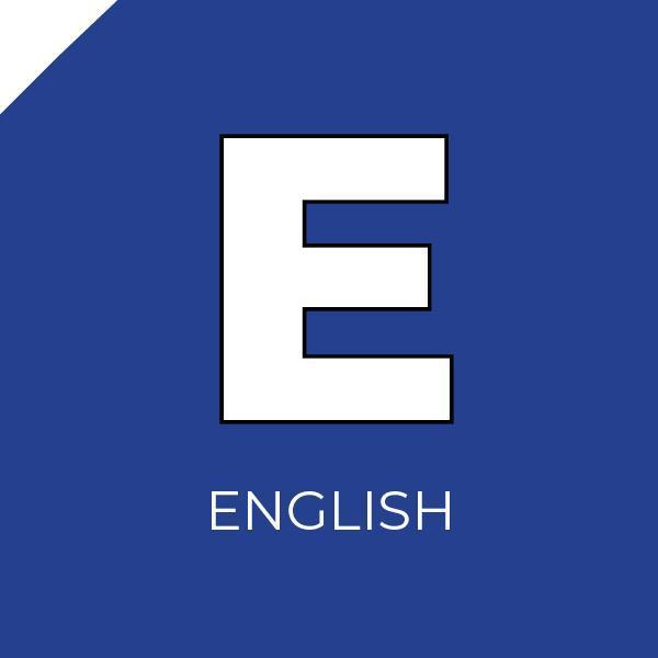 The letter E inside a blue box