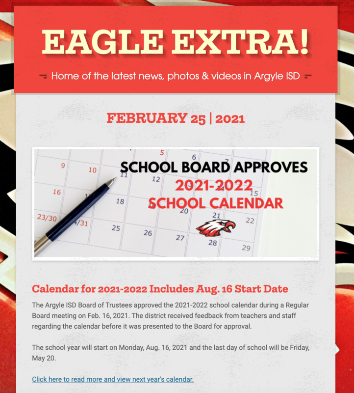 Argyle ISD Eagle Extra: Thursday, Feb. 25, 2021 Thumbnail Image
