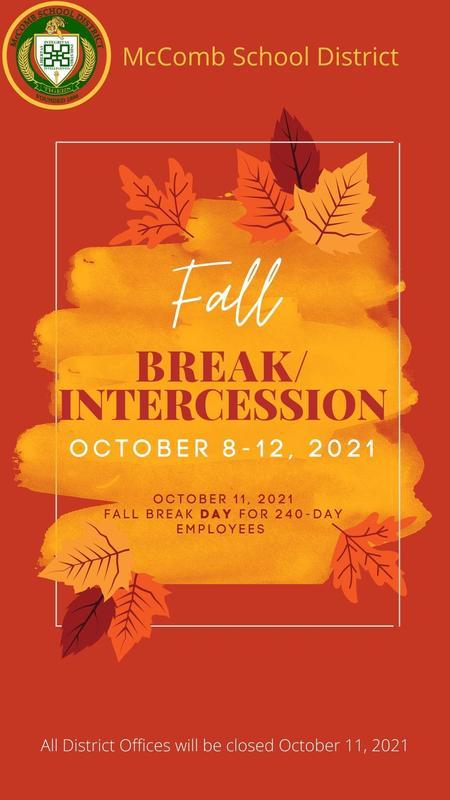 McComb School District Fall Break/Intercession News 2021