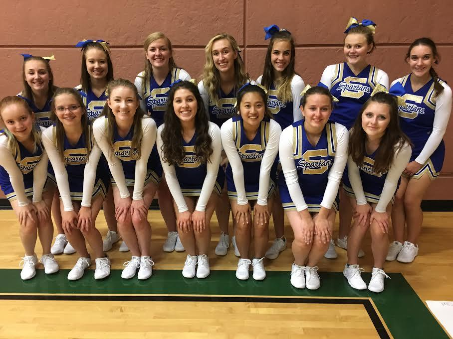 The Cheer team's first game of the school year. They cheered on our volleyball team.