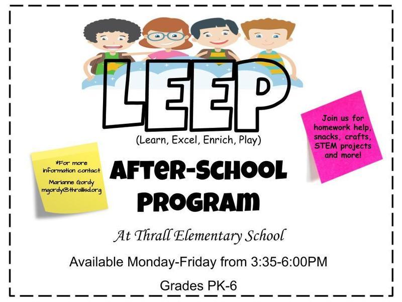 LEEP After School Program Available! Thumbnail Image
