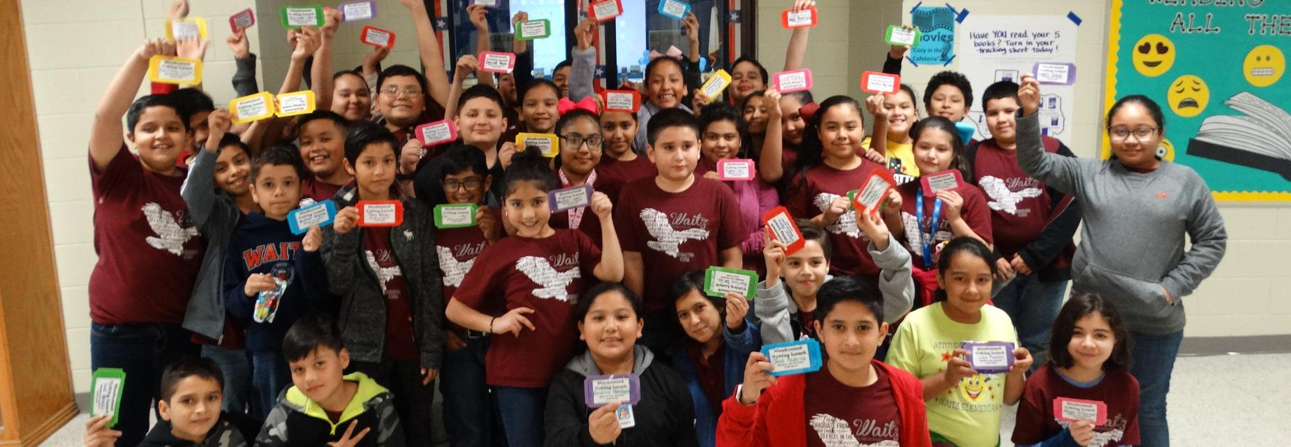 5th grade students with Bluebonnet Voting Luncheon tickets