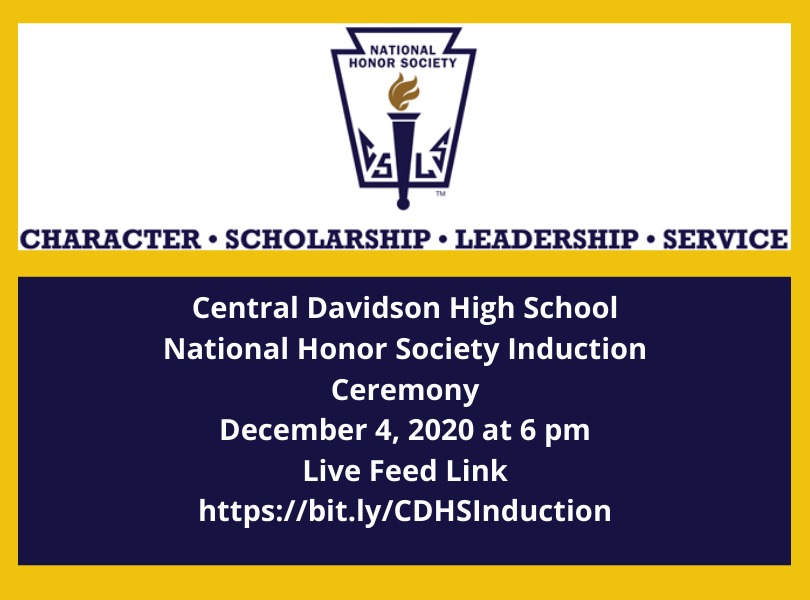 National Honor Society Inductions - Click here to livestream December 4 at 6 pm