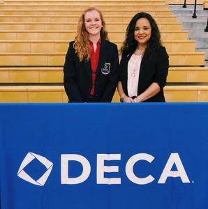Tate Halford and DECA sponsor Mindy Quiroz