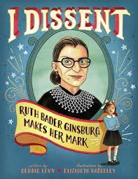 """Picture of Ruth Bader Ginsberg in her black robe and """"dissent"""" collar"""