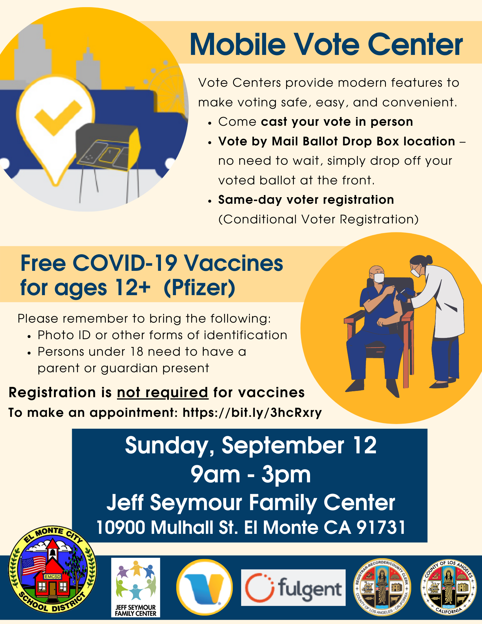 Mobile Voting Center and Pop-Up Vaccine Clinic at Jeff Seymour Family Center on Sunday, September 12 from 9am - 3pm. English flyer