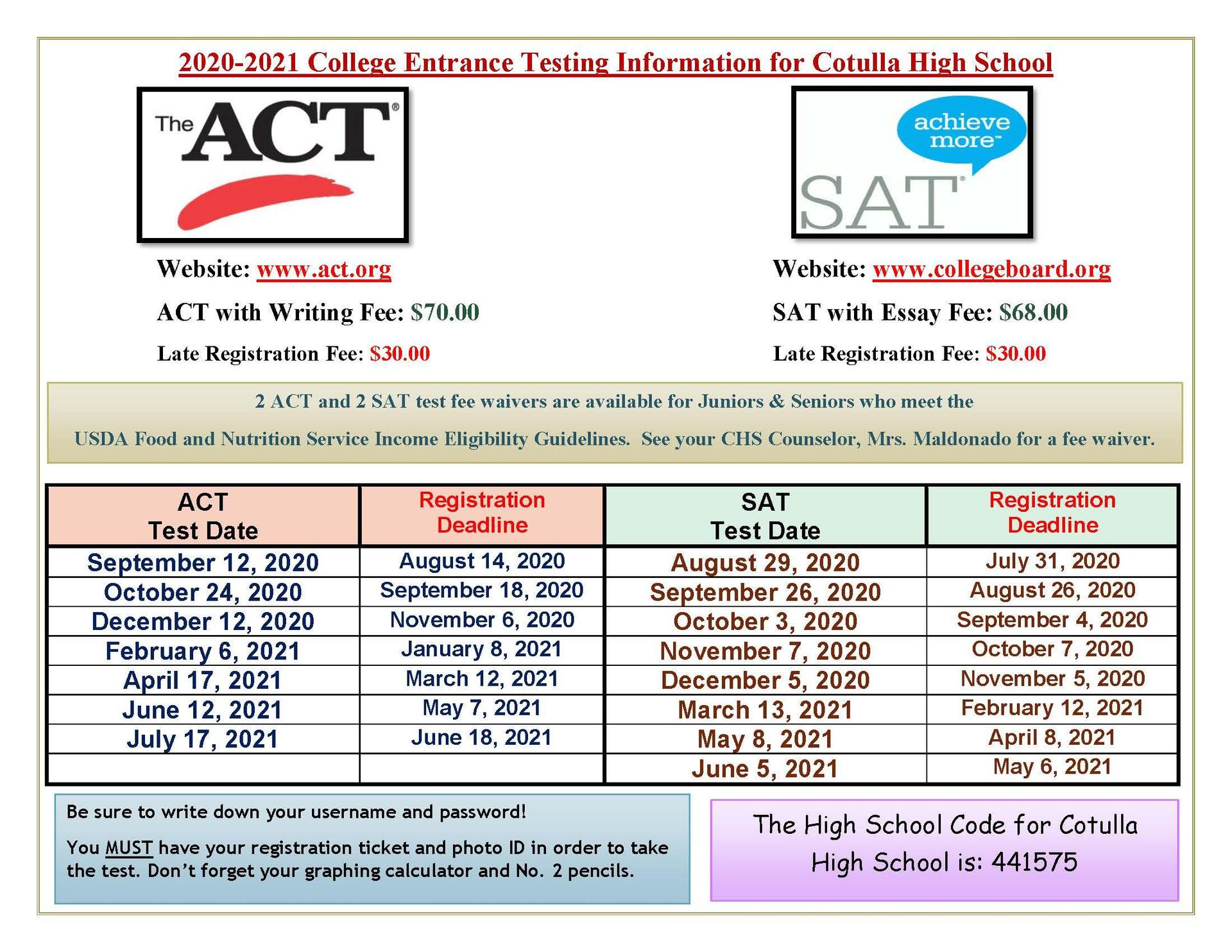 2020-2021 ACT and SAT test dates