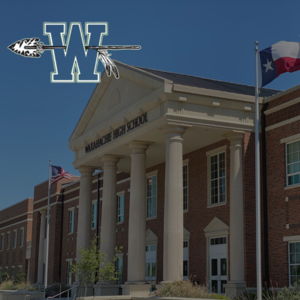 entrance to WHS with the logo superimposed on top