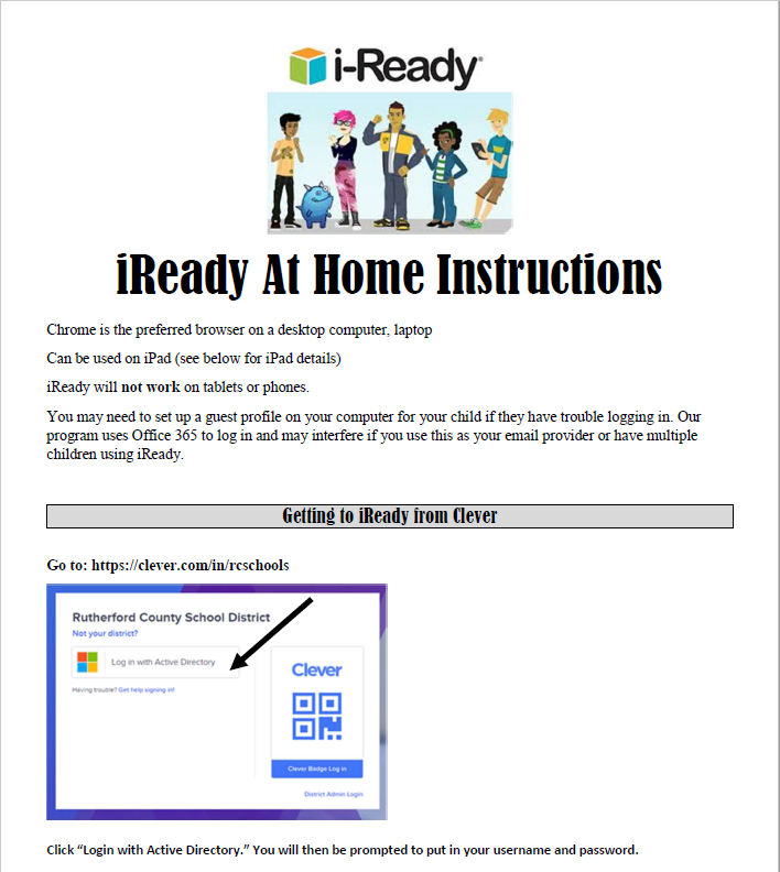 Directions for iReady