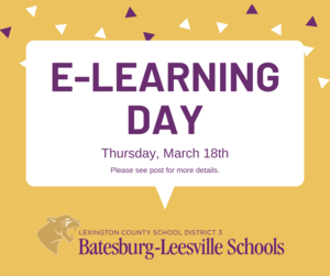 Lexington Three Announces E-Learning Day for Thursday, March 18th
