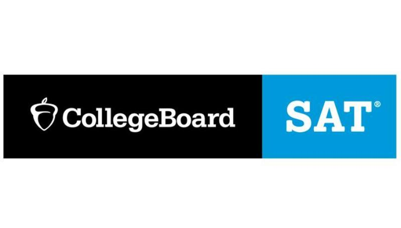 Logo for Collegeboard in white surrounded by black and SAT in white