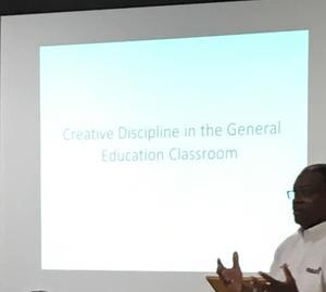 Mr. Pleasant presenting