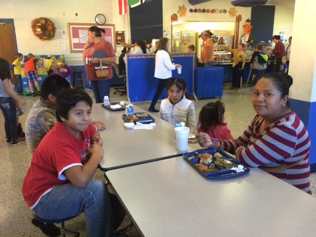 Eating lunch with friends and family