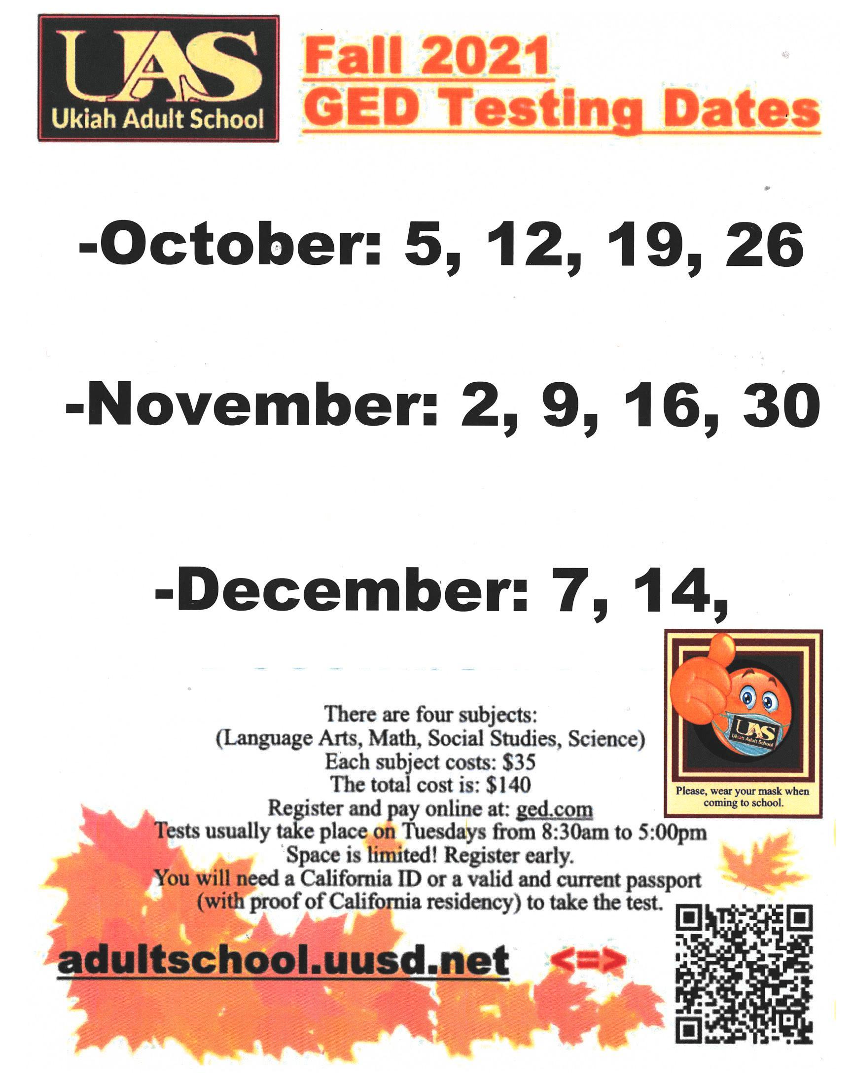 Fall 2021 GED test Dates Poster