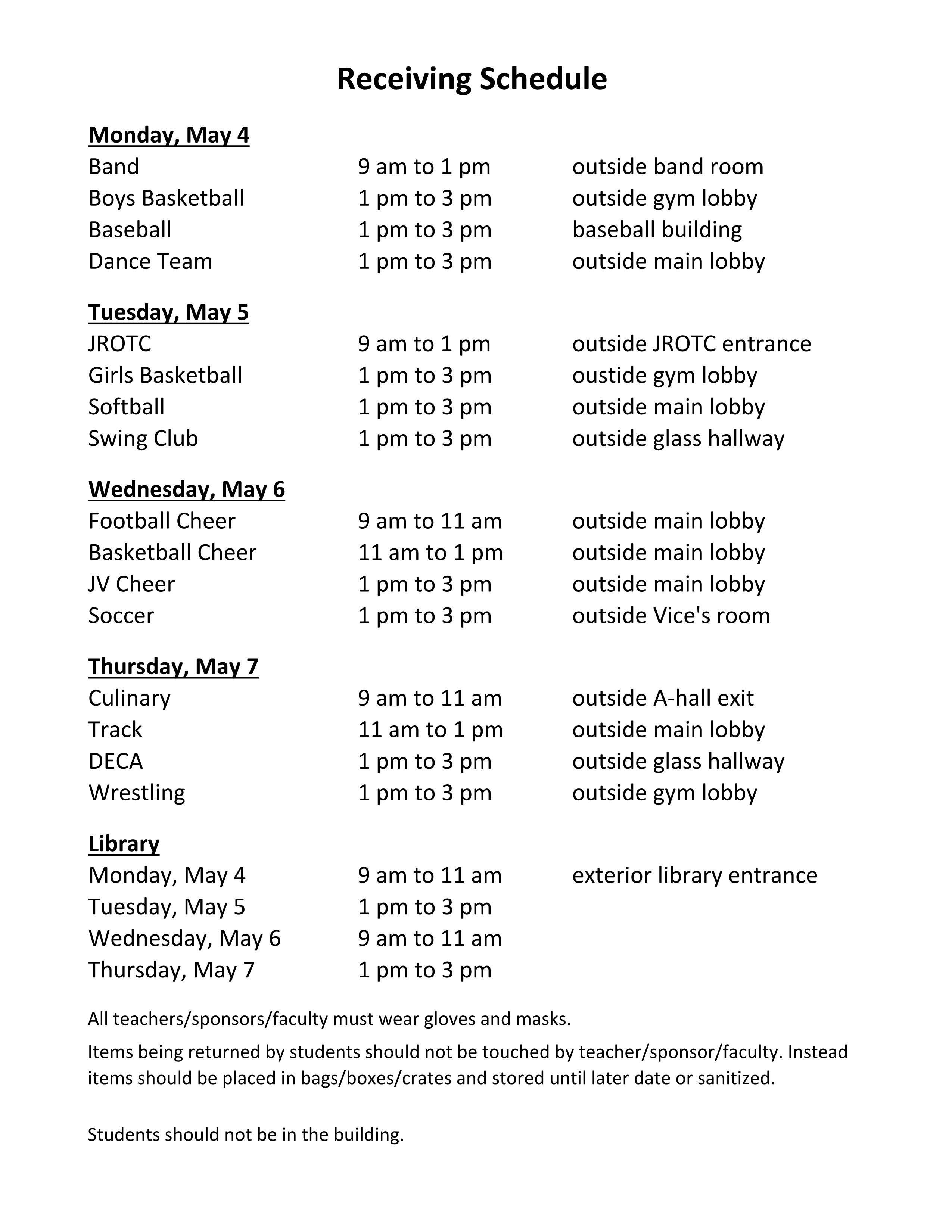 receiving schedule no instructional