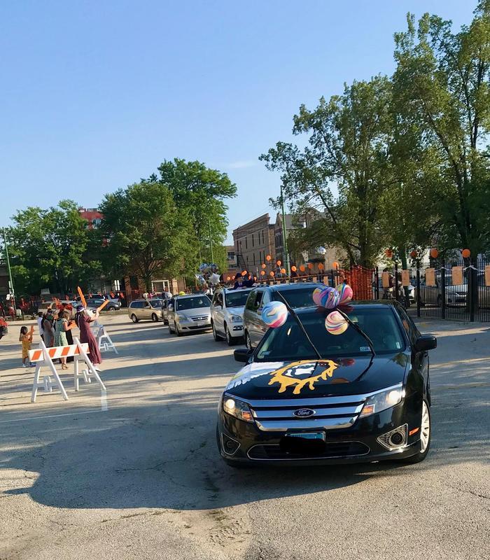 8th grade Drive-Thru Graduation parade.