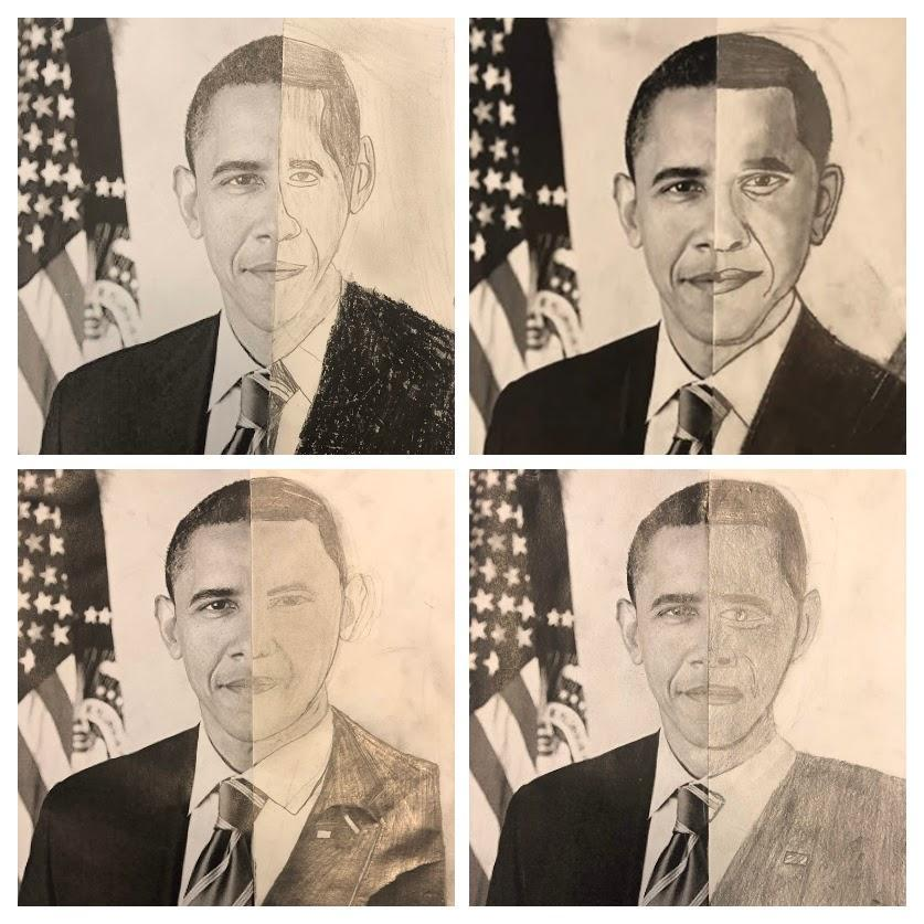 Black History Makers and World Changers- Half Draw - Middle School Art Class