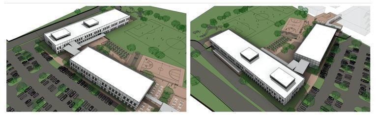Figure 7. Proposed New Instructional Buildings, SW View. Figure 8. Proposed New Instructional Buildings, NW View.