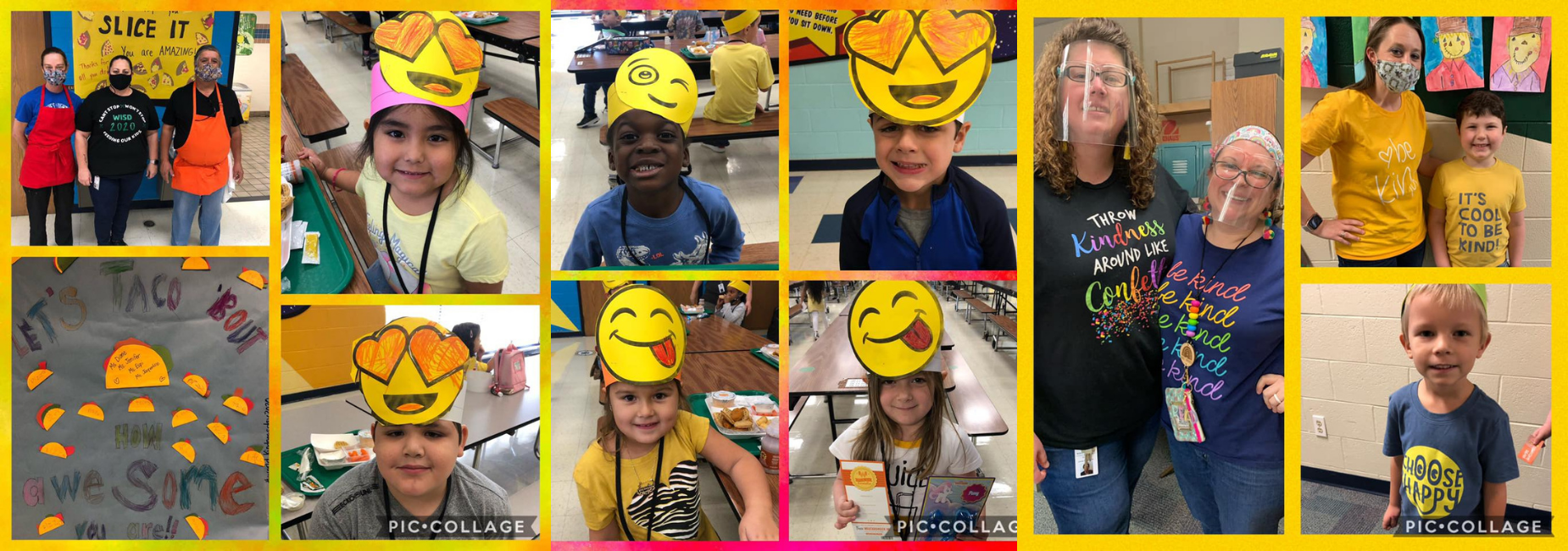 collage of pictures of students wearing smiley emoji headbands and kind shirts
