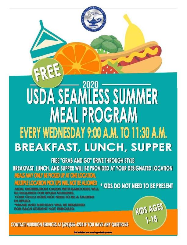 Baldwin Park Unified School District is extending its Seamless Summer Meal Program after the USDA announced the approval to continue the use of the program through Thursday, Dec. 31, 2020.