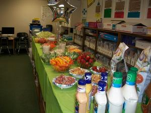 Salad luncheon provided by PTO for Teacher Appreciation Week.