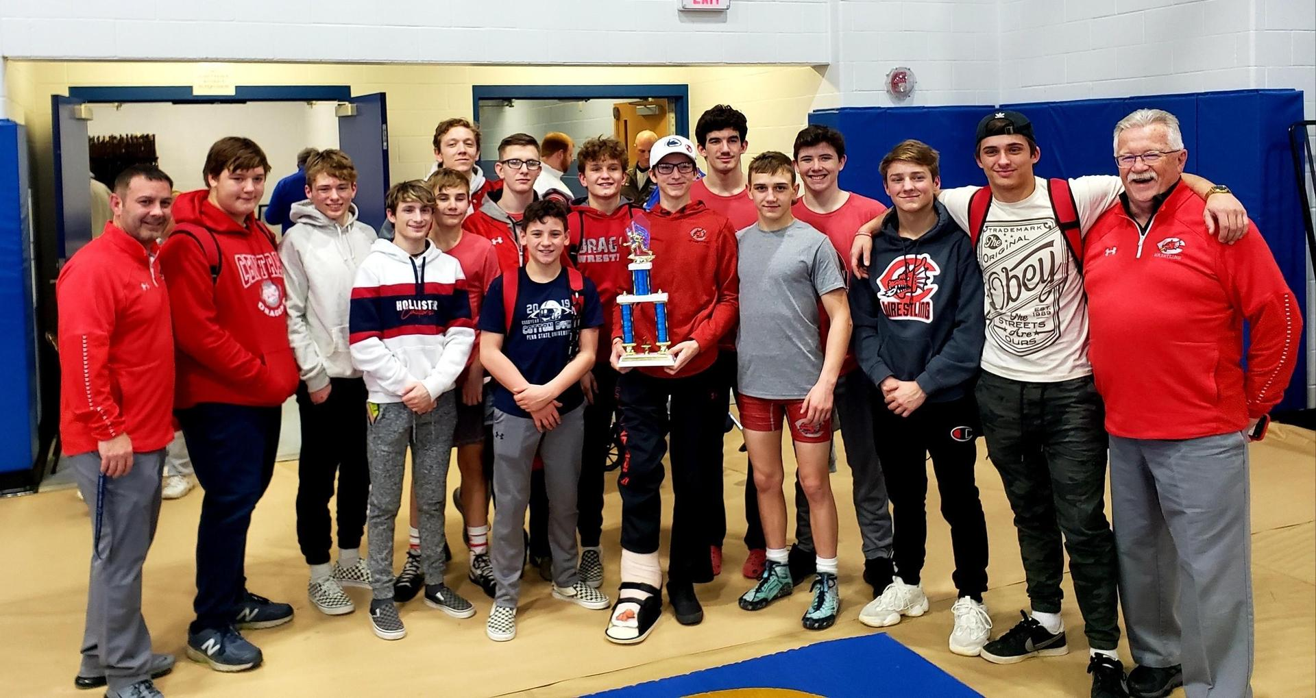 On 2/8/20 the CHS Varsity Wrestling team won the Claysburg Kimmel Duals