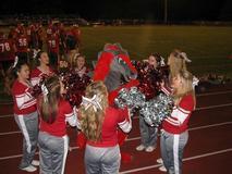 Varsity Cheerleaders in a circle around the Dragon Mascot.