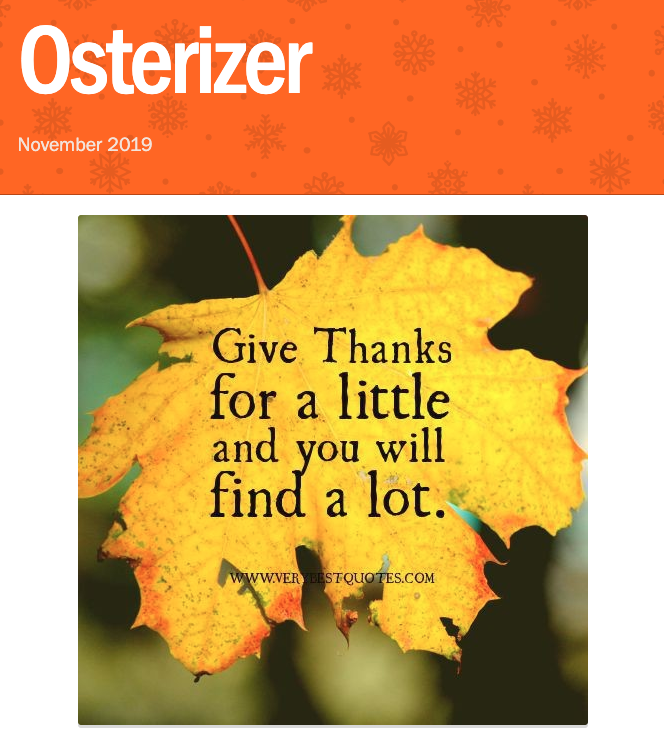 Osterizer - November 2019 Featured Photo