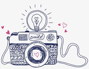 cartoon camera with smile