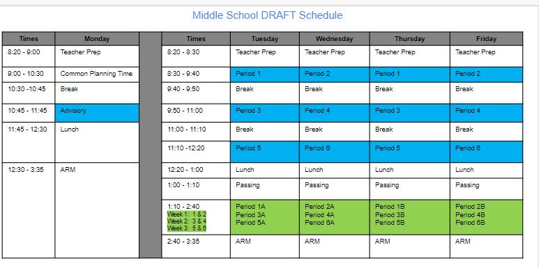 Middle School DRAFT Schedule
