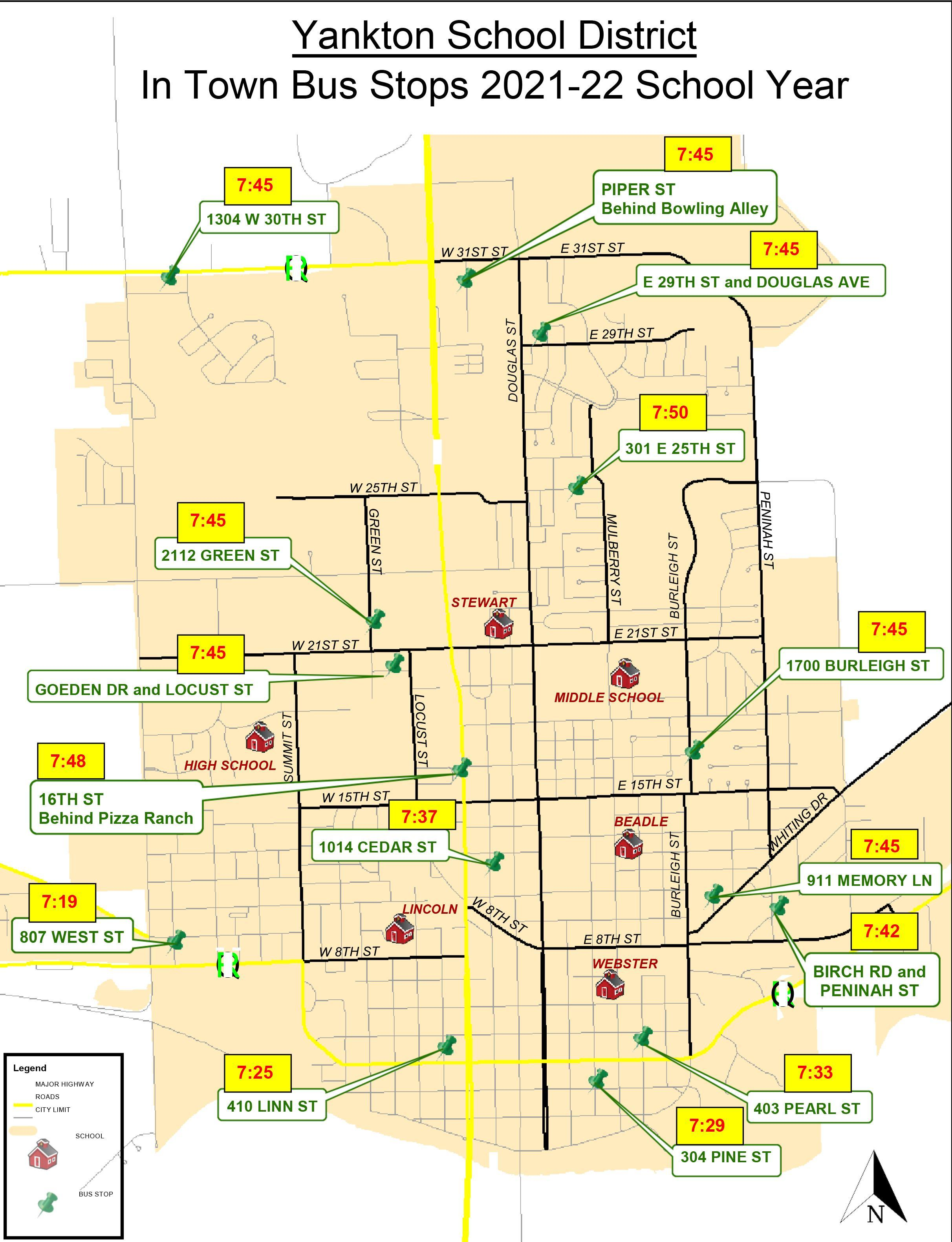 In Town Transportation Map & Stop Times 2021-22