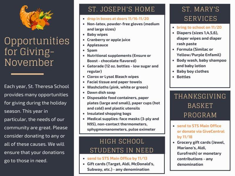 Opportunities for Giving during the month of November Featured Photo