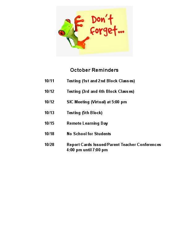 October dates listed