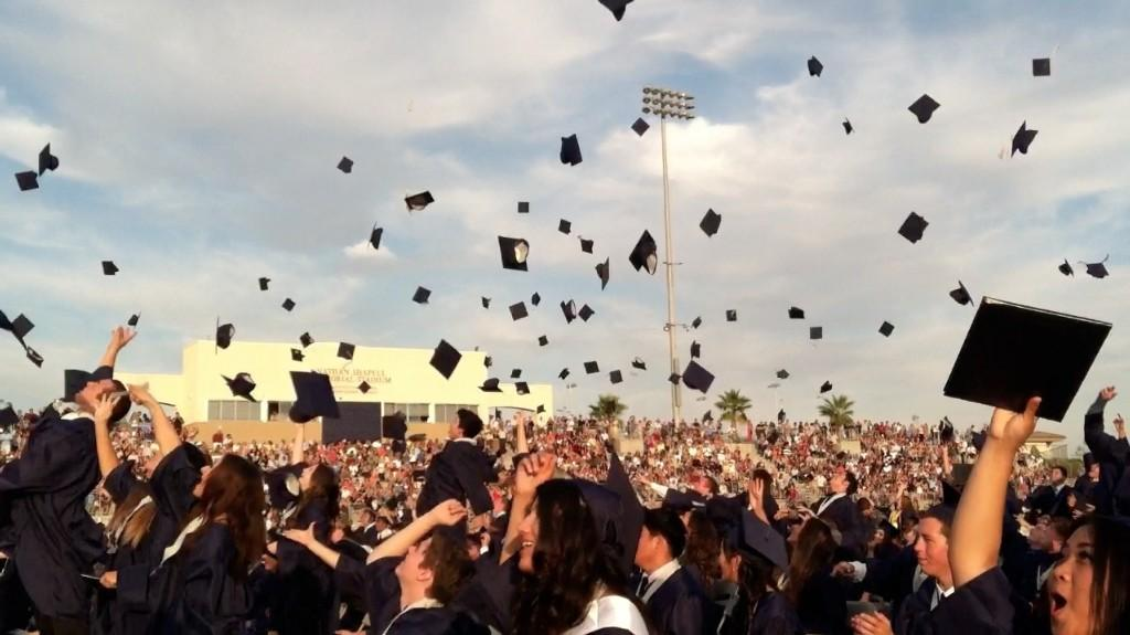 Hats being thrown at the end of graduation