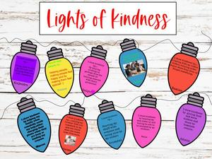 Lights of Kindness with quotes and wood background