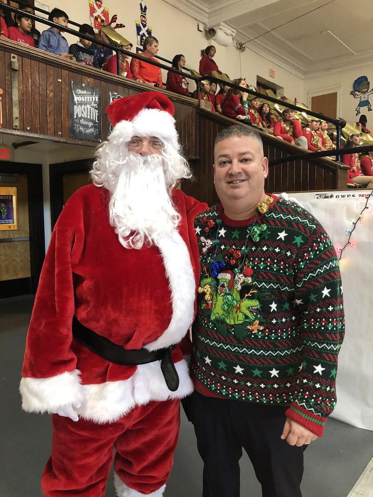 Santa and Principal Rivera